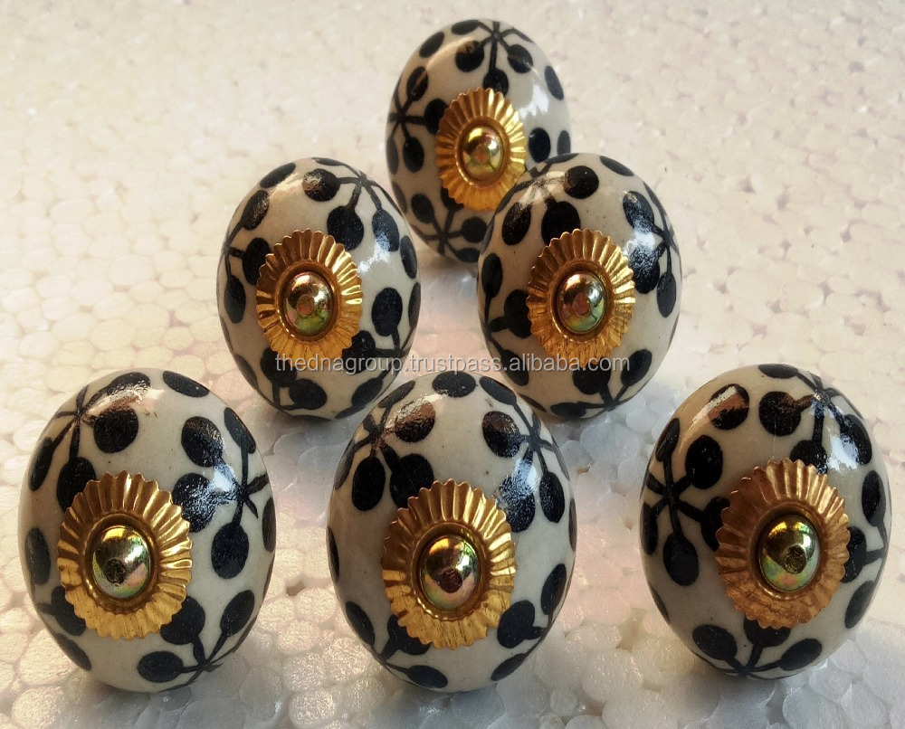 High quality hand painted black and white round shape brass fitting ceramic drawer pull