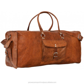 Handmade genuine vintage leather holdall gym bag