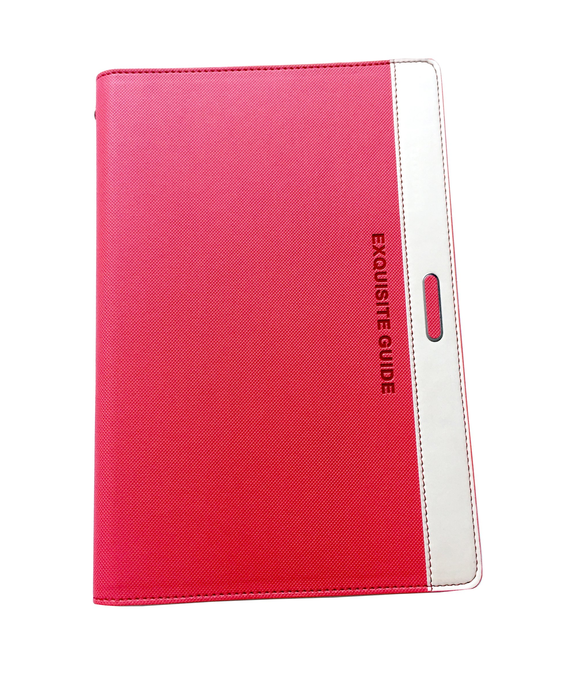 ExquisiteGuide Notebook, Leather Journal, A5 PU Leather Business Notebook, Bullet Journal, Writing Notebook Diary with Card Holder & Pen Loop & Refillable Loose Leaf Journal(Red)