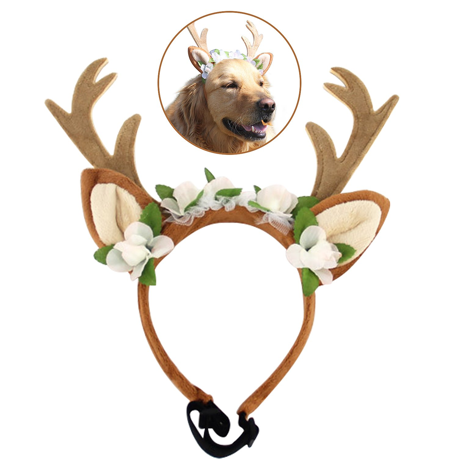 Get Quotations · Bascolor Pet Costume Antlers Headbands with Ears  Adjustable Flexible for Dogs Cats Various Size Halloween Christmas f2d0ccc7595