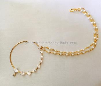 Polki Big Bridal Nose Ring Press Nath Type With Pearl String Nr45