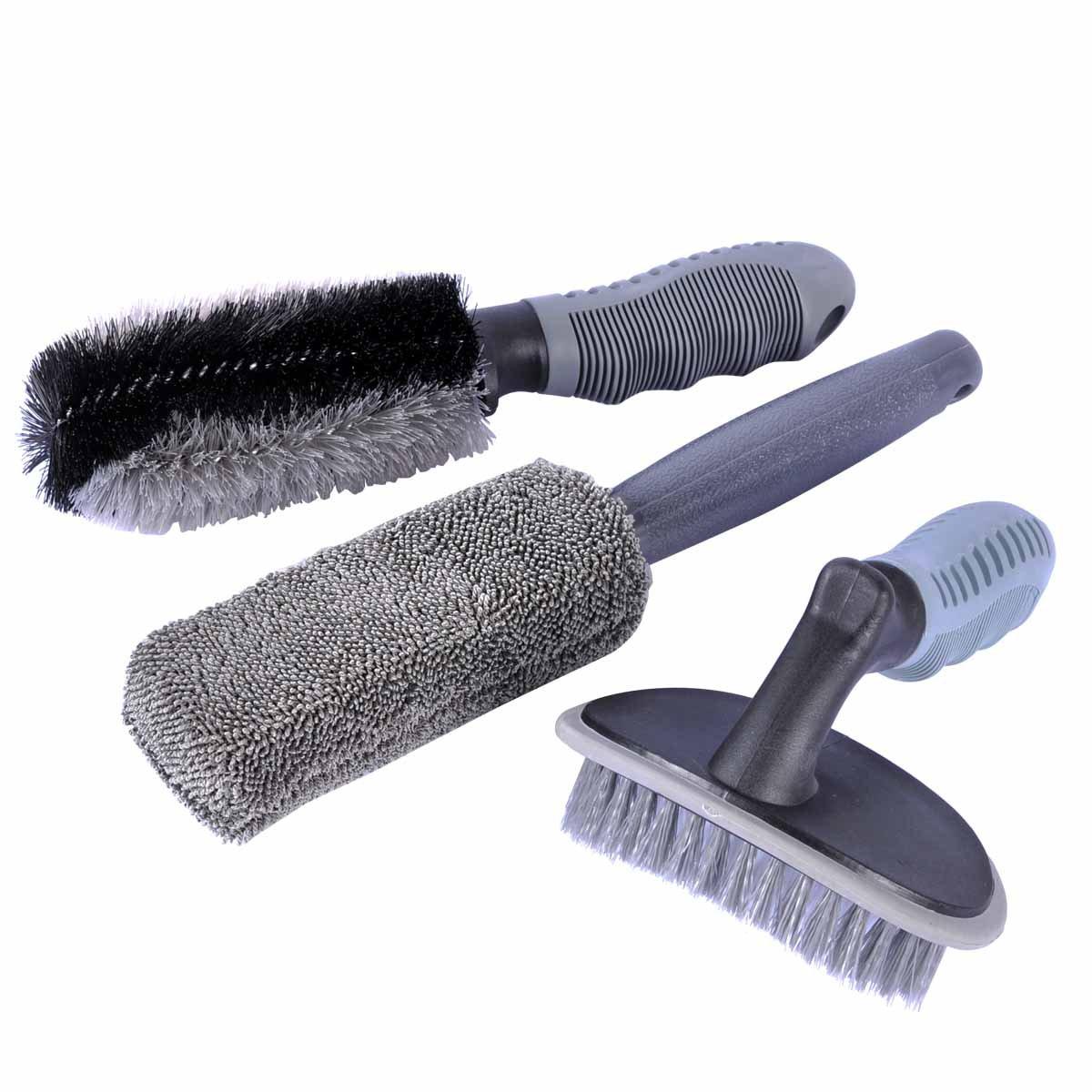 Car Wheel Cleaning Brush Kit, AutoEC 2 Tire Rim Scrub Brush Soft Alloy Brush Cleaner, 1 Premium Metal-Free Wheel & Rim Brush, Use for Auto Motorcycle Bike Wheel Cleaning