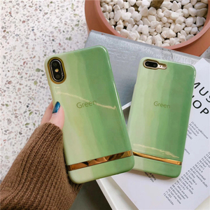 Wholesale hot selling glossy green metal hard pc mobile phone case for iPhone 6s 7 8 Plus X