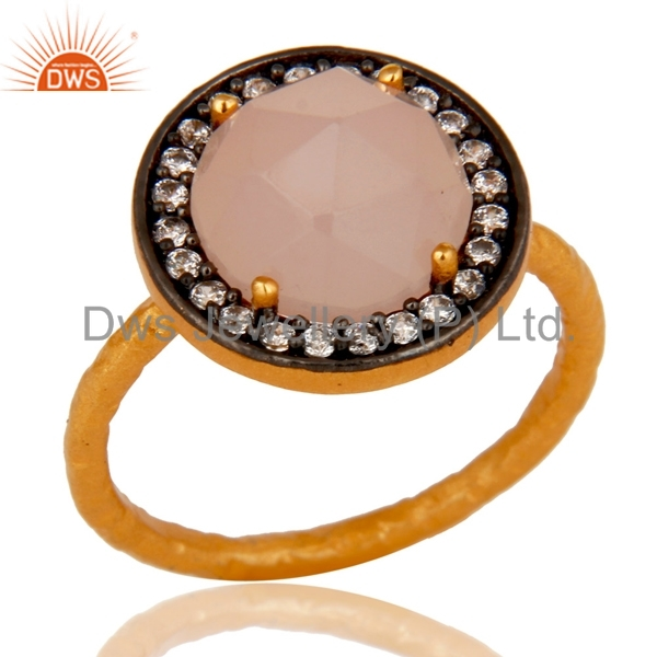 Zircon Rose Chalcedony Gemstone Rings Designer Gold Plated Sterling Silver Ring Jewelry Supplier