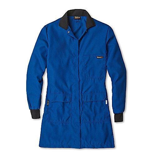 Workrite Uniform 354CH45RB2L 00 Women's Flame-Resistant/Chemical Protection Lab Coat, 2XL Size, 4.5 oz. Nomex IIIA Fabric, Royal Blue