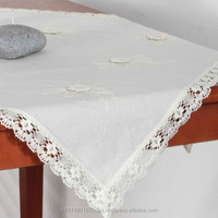 Embroidered Flower Crocheted Lace Edging Natural Color All Sizes with Cushion Complement Linen Table Cloth