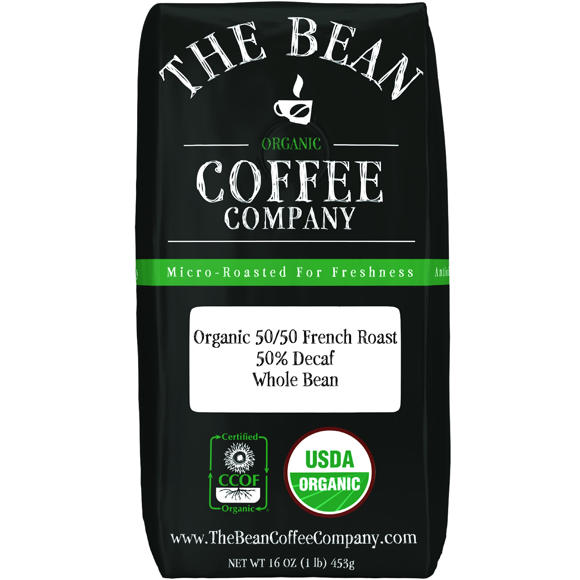 The Bean Coffee Company Organic 50/50 French Roast, 50% Decaf, Whole Bean, 16-Ounce Bag