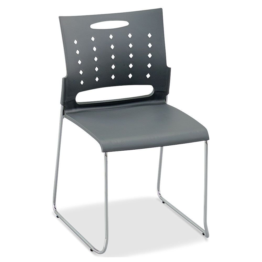"""Set of 4 Chrome Frame Plastic Stack Chair Dimensions: 18.875""""W x 21.5""""D x 31.875""""H Seat Dimensions: 17""""Wx17.875""""Dx17.3""""H Weight: 12 lbs. Gray Plastic/Chrome Frame"""
