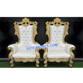 Latest Design Wedding Bollywood Chairs 2018 Golden Carved Set Bride Groom Wooden Indian