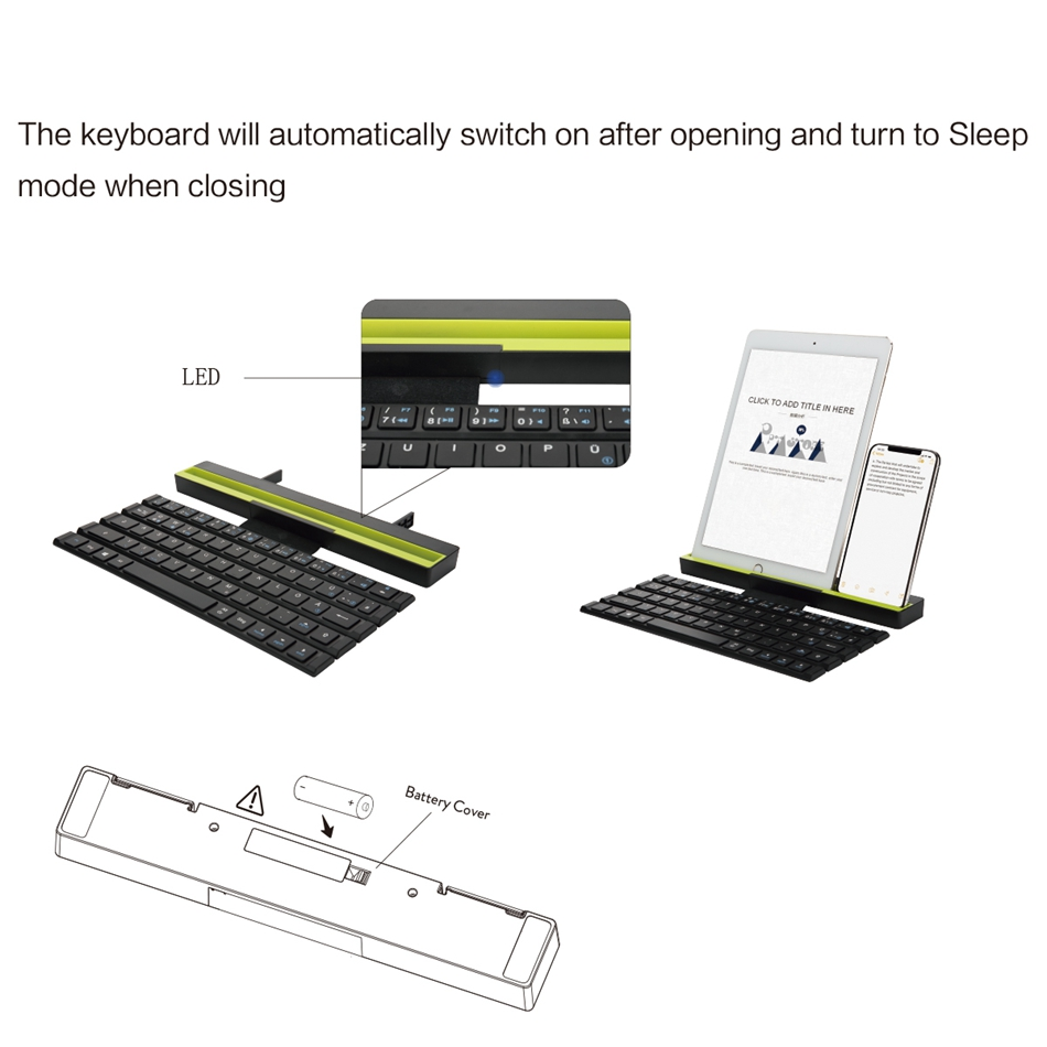 Bluetooth Keyboard,Folding Keyboard with intelligent magnetic switch (Sync Up to 3 Devices), Pocket-Sized Tri-folding Wireless фото