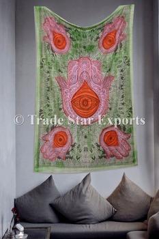 Hamsa Hand Of Fatima Painting Art Decor Indian Cotton Fabric Painted Mandala Wall Tapestry