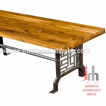Industrial Vintage Indian Mango Wood Top With Black Design Metal Base Dining Table Buy Acacia Wood Dining Table Dining Table Wood And Slate Top