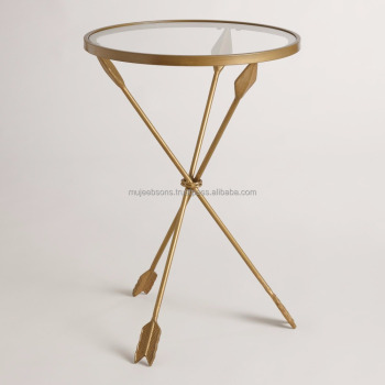 Modern Style Round Arrow Shape Glass Top Coffee Table Side Table