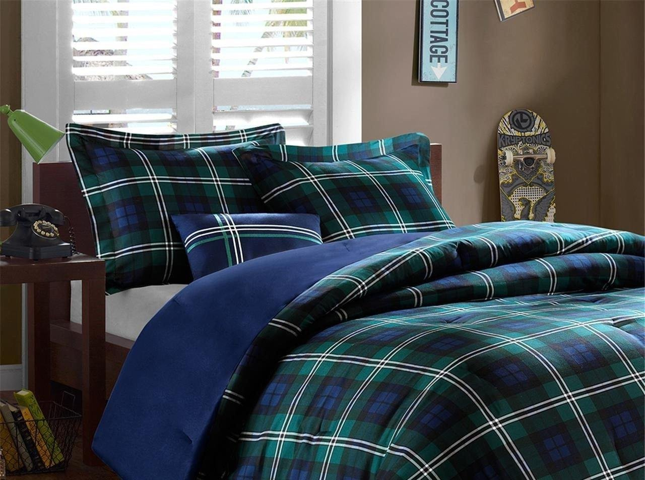 OSD 3pc Boys Navy Blue Green Madras Glen Plaid Theme Comforter Twin XL Set, Stylish Tartan Check Plaided Bedding, Horizontal Vertical Stripe Lodge Cabin Themed Pattern