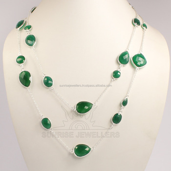 "925 Sterling Silver Natural Green Onyx, Black Onyx Gemstone BEZAL Jewellery Necklace huge 30"", 36"""