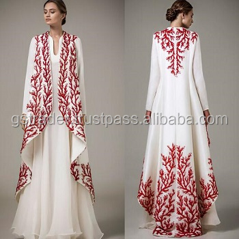 Georgette flair hot red unique embroidered abaya/wedding bells kaftan dress for hotties