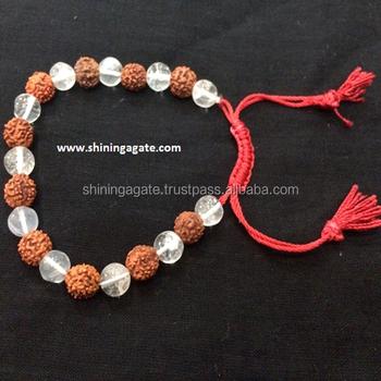 Rudraksh And Crystal Quartz Beaded Gemstone Bracelet With String