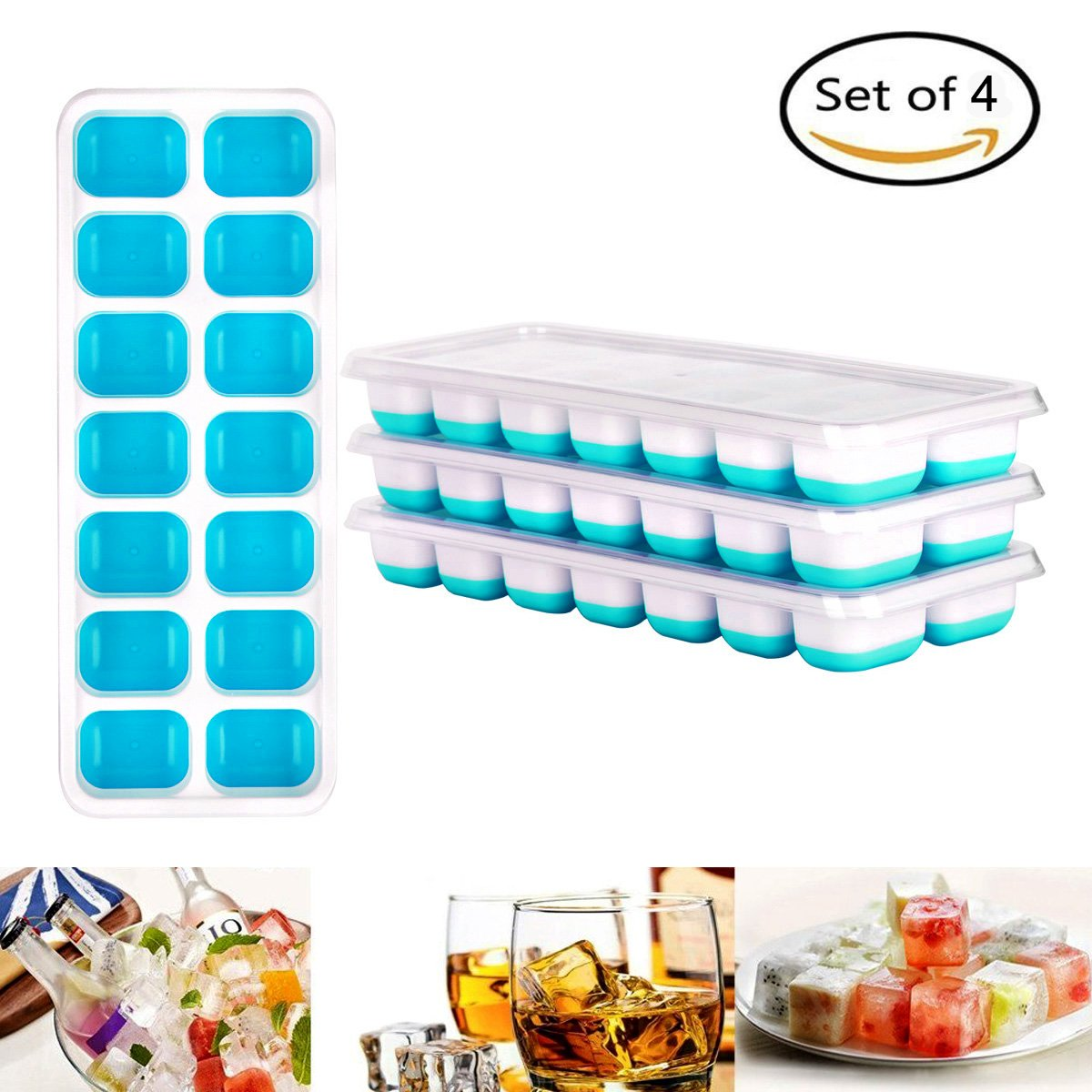 GYMAN Ice Cube Trays Flexible 14-Ice Trays Easy-Release Silicone with Spill-Resistant Removable Lid Stackable Durable and Dishwasher Safe LFGB Certified, BPA Free -- 4 Pack