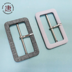 Fabric covered square metal coat belt buckles