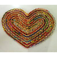 cotton jute heart shape braided rug