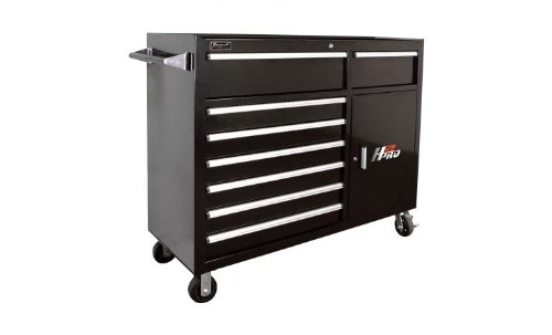 Homak H2PRO Series 56-Inch 8-Drawer with 2-Drawer Compartment Roller, Black, BK04056082