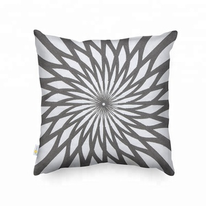 Monad Gray Cotton Geometric Crewel Embroidered Throw Cushion Pillow for Home