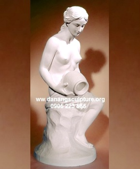 Beautiful nude young girl with pot garden stone Danang sculpture DSF-V42