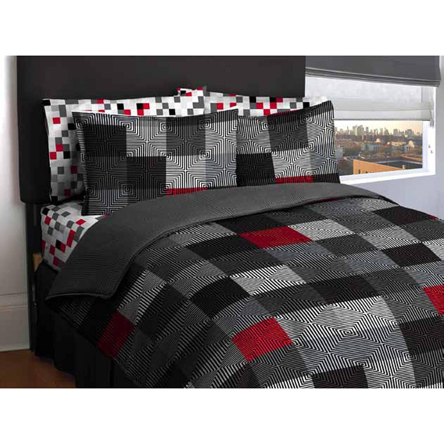 Ln Twin size Teen Boys Red,Gray, White, Black Geo Blocks comforter with sheet set, Bed in a Bag Bedding Set (Full)