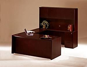 """Mayline Bow Front U-Shaped Desk W/Hutch 72""""W X 104""""D X 68""""H Desk: 72""""W X 36""""D X 29.5""""H Bridge:48""""W X 20.5""""D X 29.5""""H Credenza: 72""""W X 20""""D X 29.5""""H Hutch: 71.75""""W X 15""""D X 38.5""""H - Mahogany"""