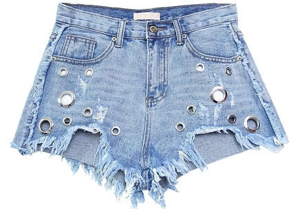 ae44f73add Ladies stretchy cuffed short trousers blue printed mini jean shorts for  womens high cut patterned denim