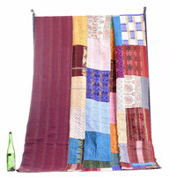 Indian Latest Patchwork Kantha Quilt Indian Antique Handmade Ikat Silk Queen Size Bed Cover