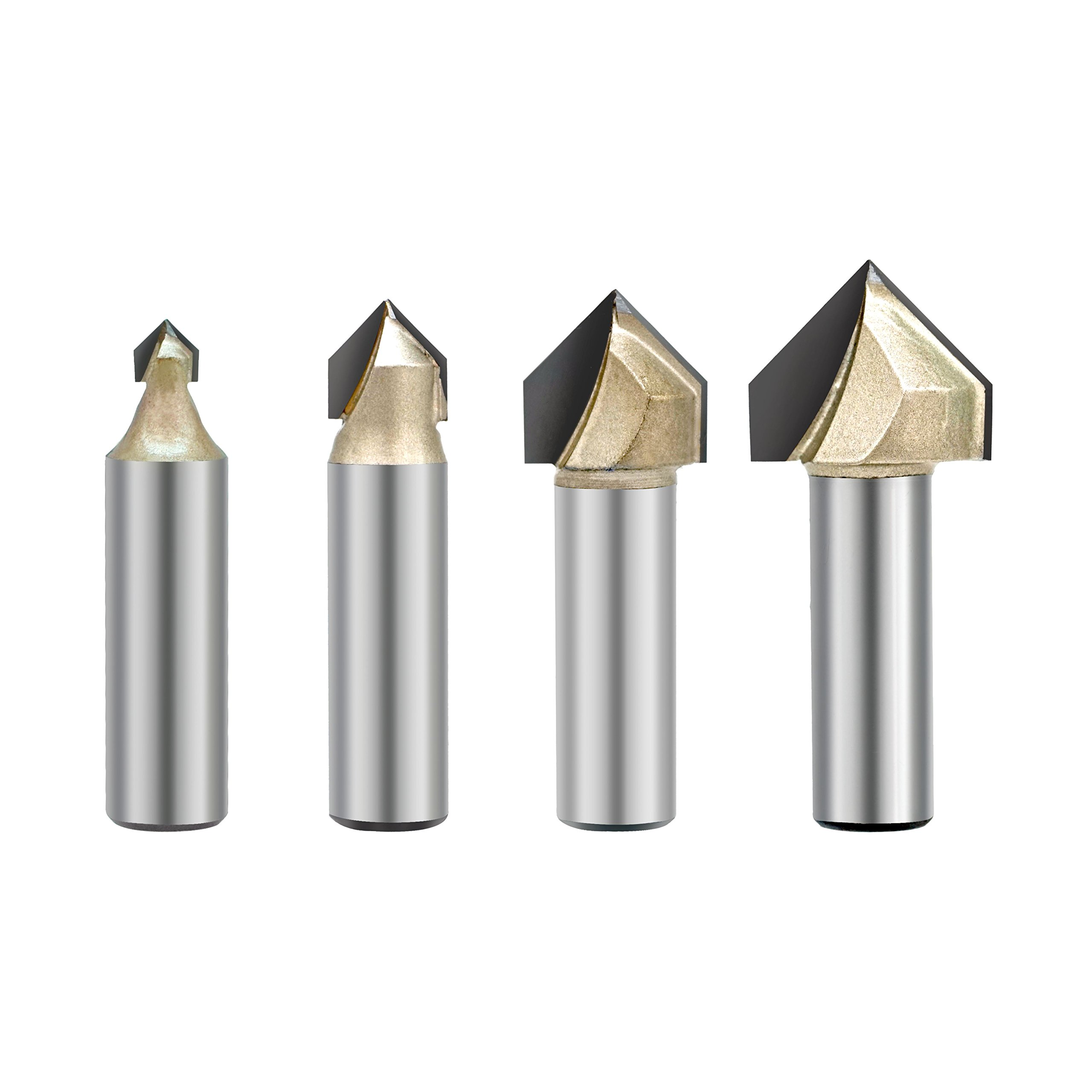 4PCS 90-Degree V Groove Router Bit, Gazeto Titanium Coated Carbide-Tipped 2-Flute CNC Engraving Bit Woodworking Chamfer Bevel Cutter, 1/2-Inch Shank