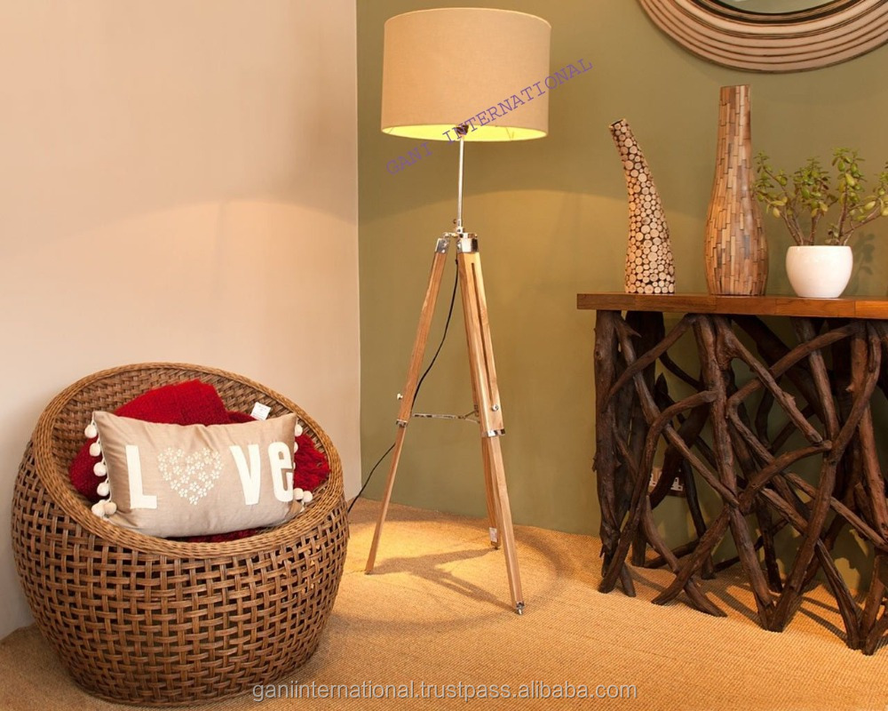 Nautical Shade Floor Lamp With Wooden Tripod Stand Decorative