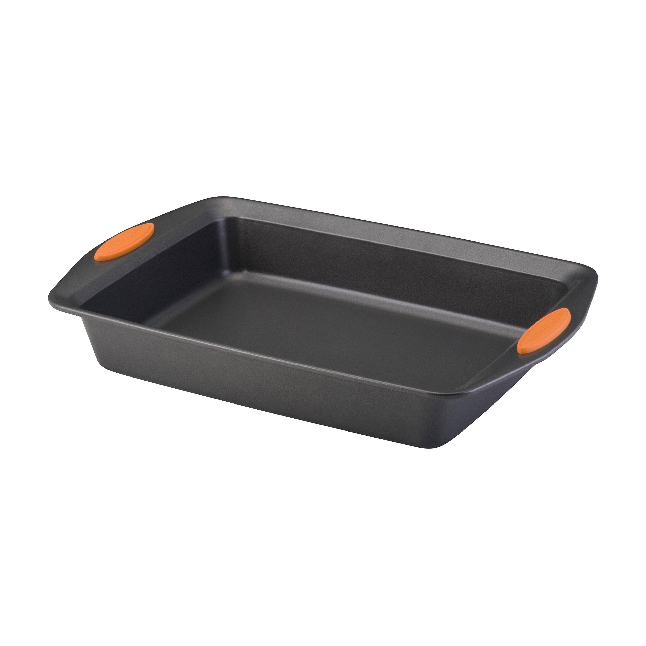 Rachael Ray Yum-o! Nonstick Bakeware 9-Inch by 13-Inch Oven Lovin' Rectangle Cake Pan, Gray with Orange Handles
