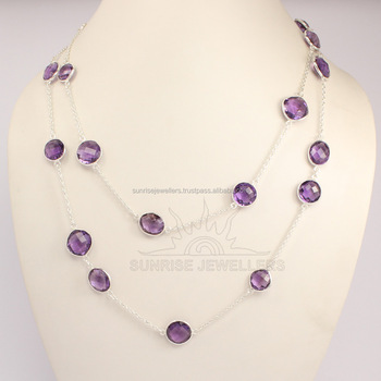 "ladies fashion jewelry 2017 Natural AMETHYST Gemstones BEZAL Necklace 20"", 24"", 30"", 36"""