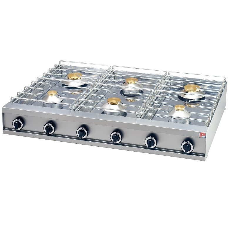 6 Burner Countertop Professional Gas Cooktop Range Hob Thermo Safety Kitchen Cooker Equipment