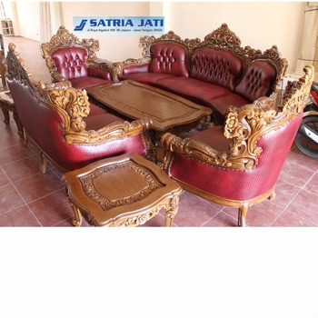 French Design Wooden Carved Chairs Living Room 7 Seater Sofa Set Indonesia  Furniture