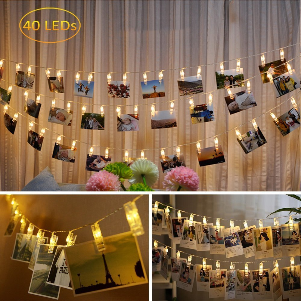 Dadiii 40 LED Photo Clip String Lights Christmas Lights for Hanging Photos, Pictures, Cards, Ideal Gift for Wedding, Party, Christmas Decoration, Battery Powered ( Warm Light )