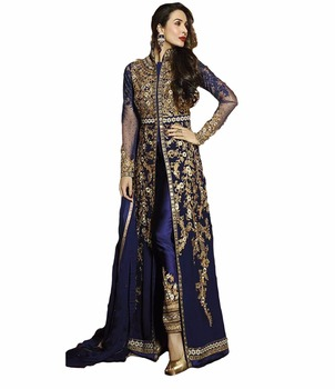 Attractive Semi Stitched Royal Blue Golden Colour Stylish Dress