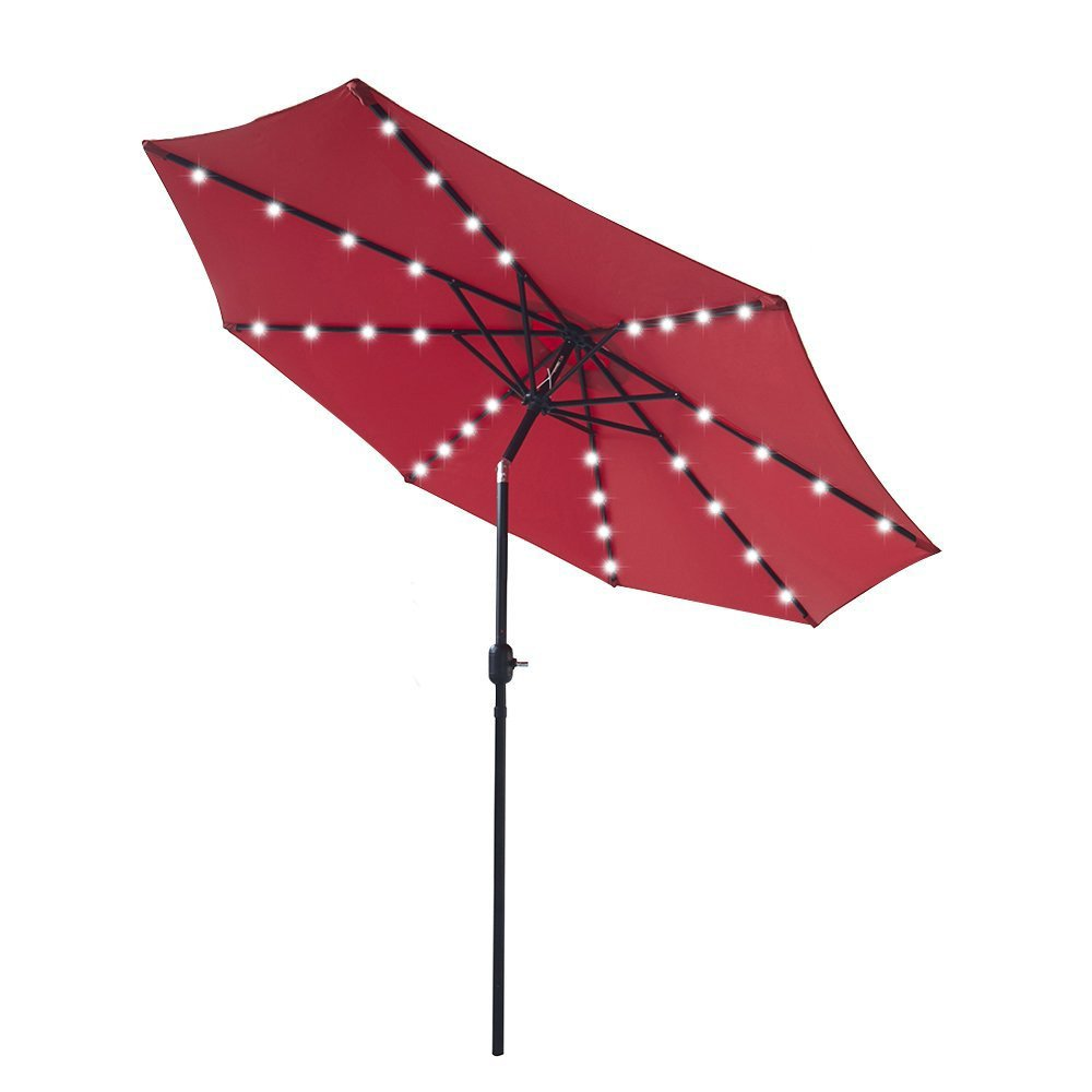9 ft Outdoor Solar Powered 32 LED Lighted Patio Table Umbrella with Push Button Tilt Adjustment and Crank System 8 Rib 9 foot Solar Led Lights Steel Deluxe Market Umbrella High-quality Fabric Red