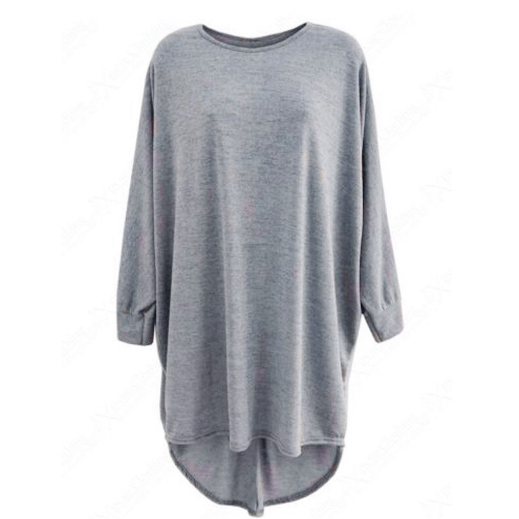 Women Blouse,Haoricu Fall Winter Women Loose Batwing Oversized Casual Long Top Blouse Long Sleeve (L, Gray)