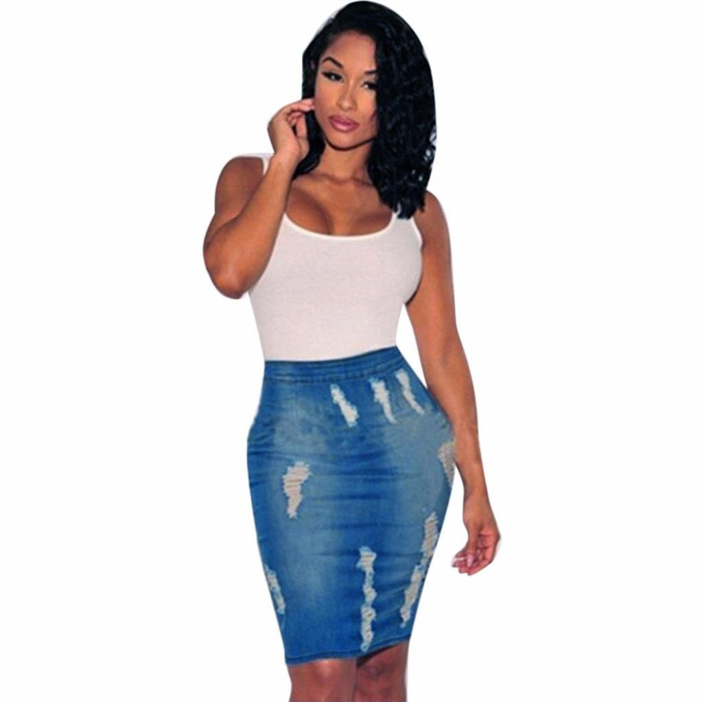 e3496afb1f Get Quotations · Stretchy Bodycon Denim Skirt,Hemlock Women High Waisted  Short Pencil Denim Dress Skirt (XXL