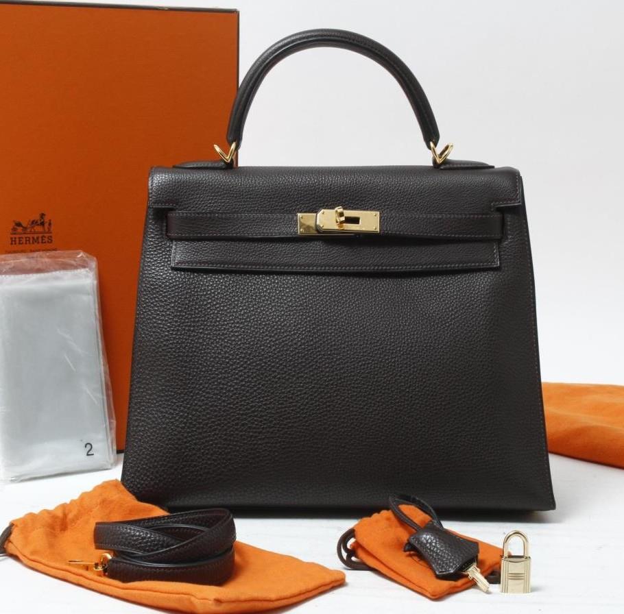 Used brand designer HERMES Kelly Togo Chocolate Leather Handbags for bulk  sale. 66bfc4f45