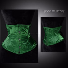 New Underbust 24 Double Steel Boned Waist Training Green And Black Satin Corset