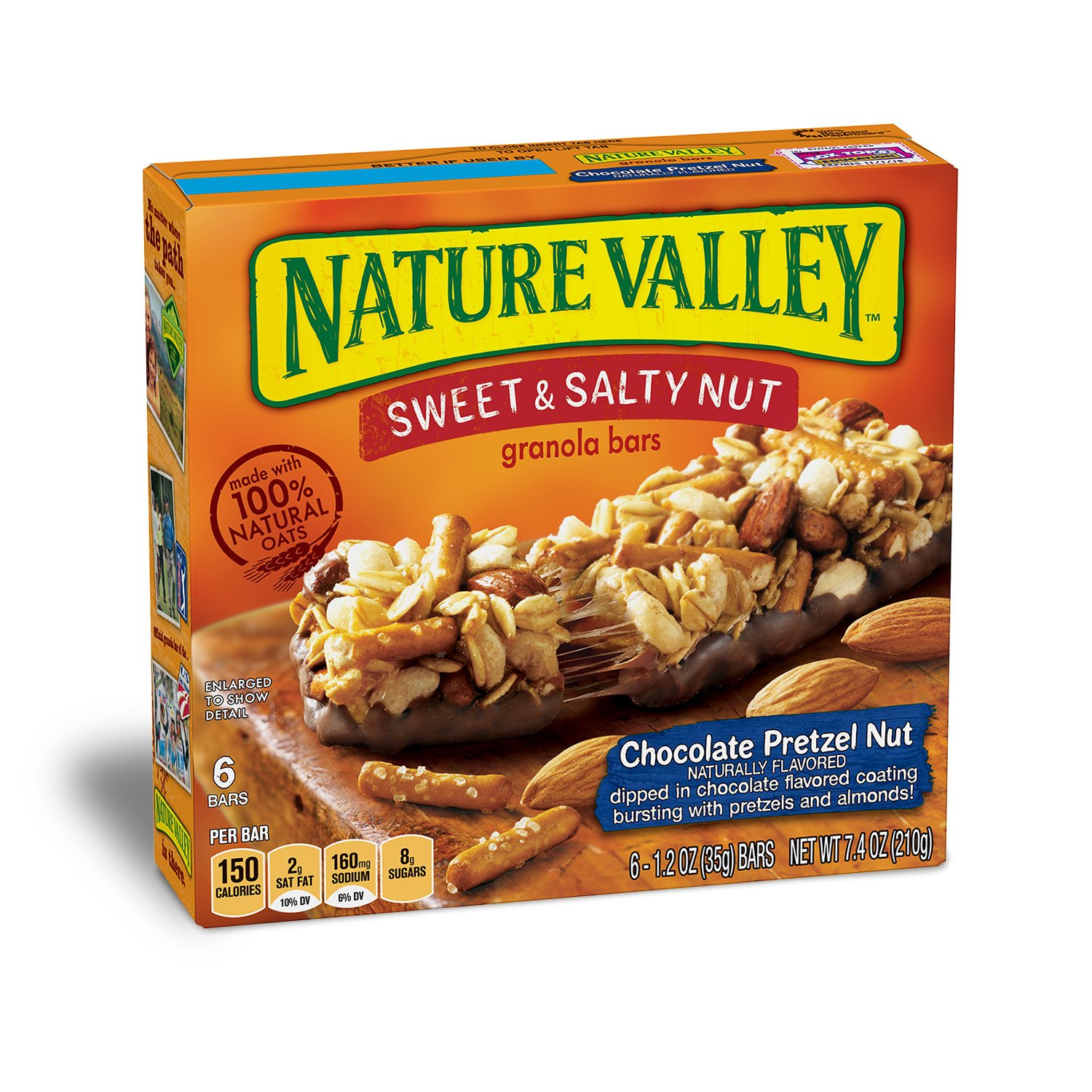 Nature Valley Granola Bars, Sweet and Salty Nut, Chocolate Pretzel Nut, 6 Bars - 1.2 oz (Pack of 12)