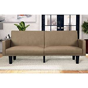 Microfiber Split Futon Folding Sofa Bed Couch, Small Double Sleeper Size, Adjustable , Wood Frame, Small Apartments, Overnight Guest, Living Room, Family Room, + Expert Guide (Tan)