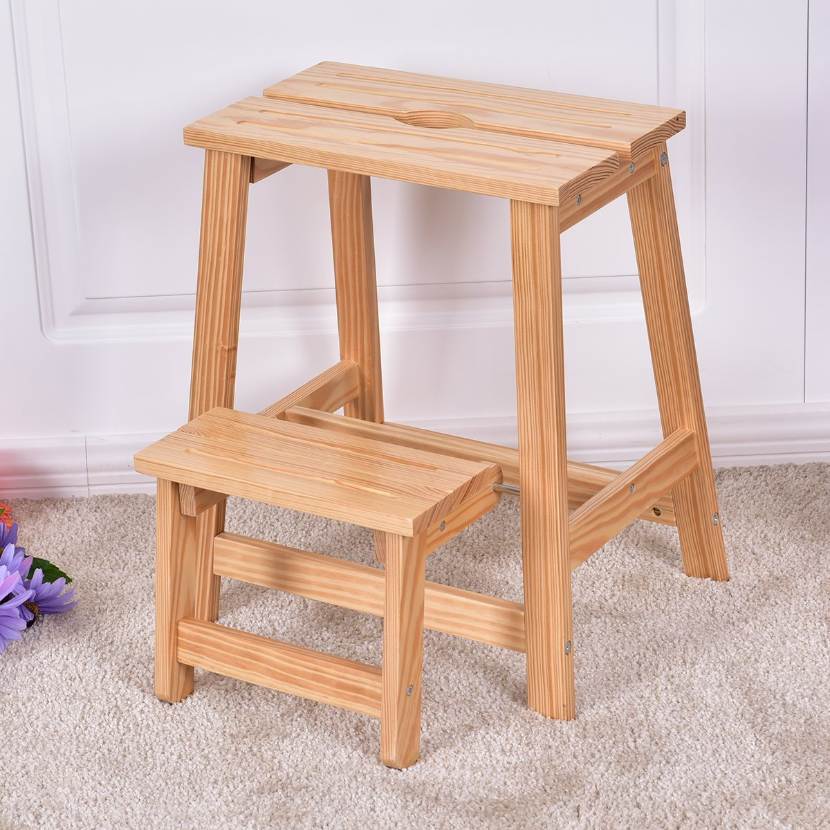 2 Tier Solid Wood Folding Kids Ladder Bench Step Stool