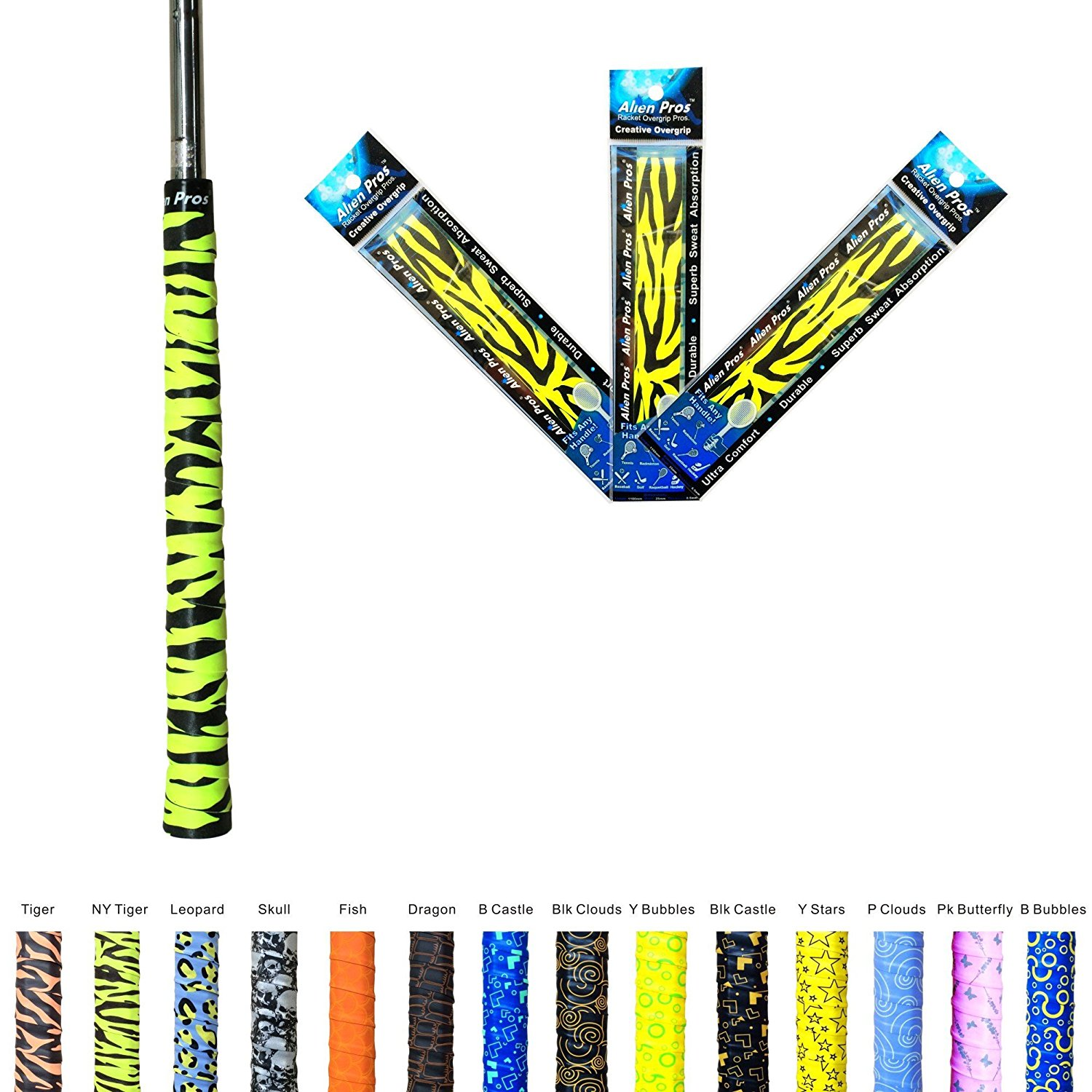 Alien Pros X-Tac Non-Slip Golf Grip Tape - Slip Resistant Overgrip Tape for Golf Clubs - Take Pride in your Drivers and Irons by Re-gripping your Golf Handles and Equipment - 3 Pack