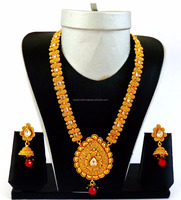 Wholesale Traditional Jewelry -One Gram Gold Plated Indian Jewelry Laxmi Temple Long Coin Jewelry