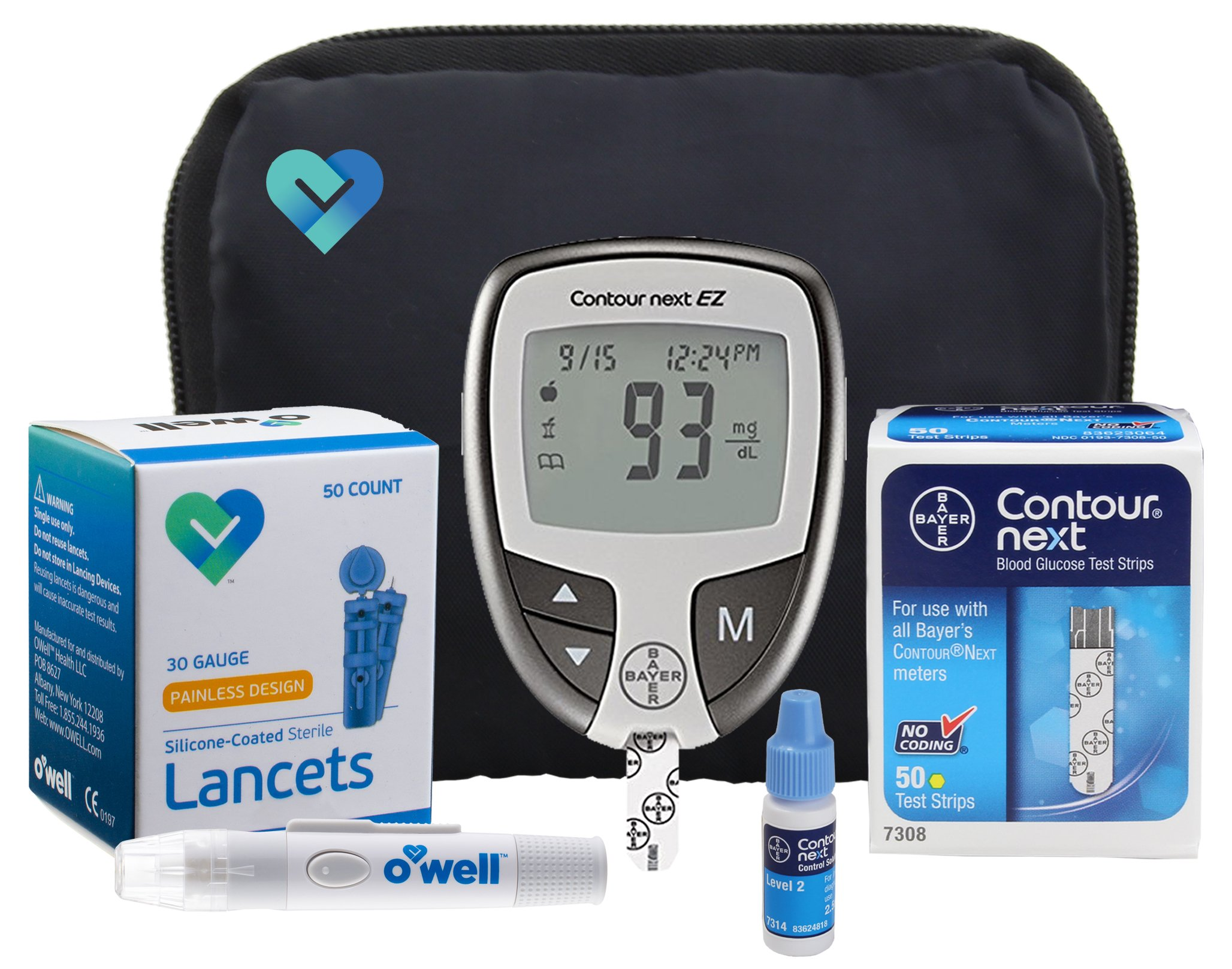Contour NEXT Blood Sugar Testing Kit, 50 Count | Contour NEXT EZ Meter, 50 Contour NEXT Blood Glucose Test Strips, 50 Lancets, Lancing Device, Control Solution, Manual's, Log Book & Carry Case